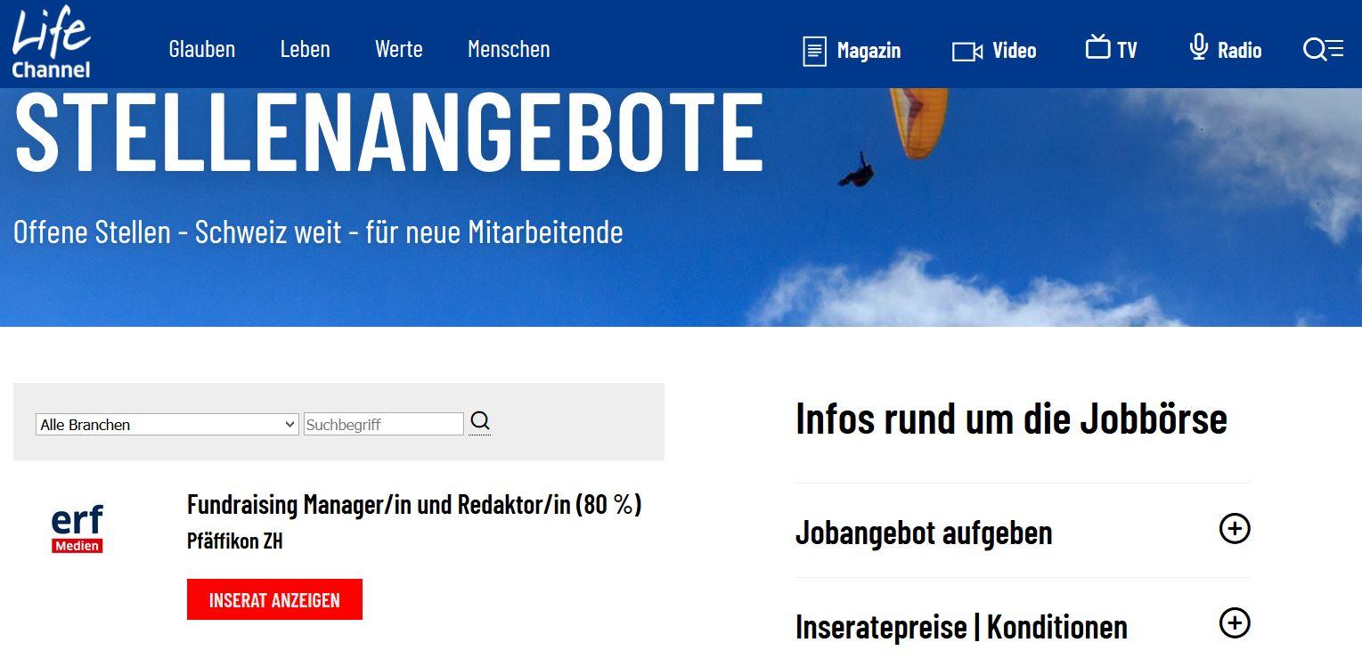Lifechannel.ch: Christliche Jobbörse, Stellenangebote, Jobs auf einen Blick