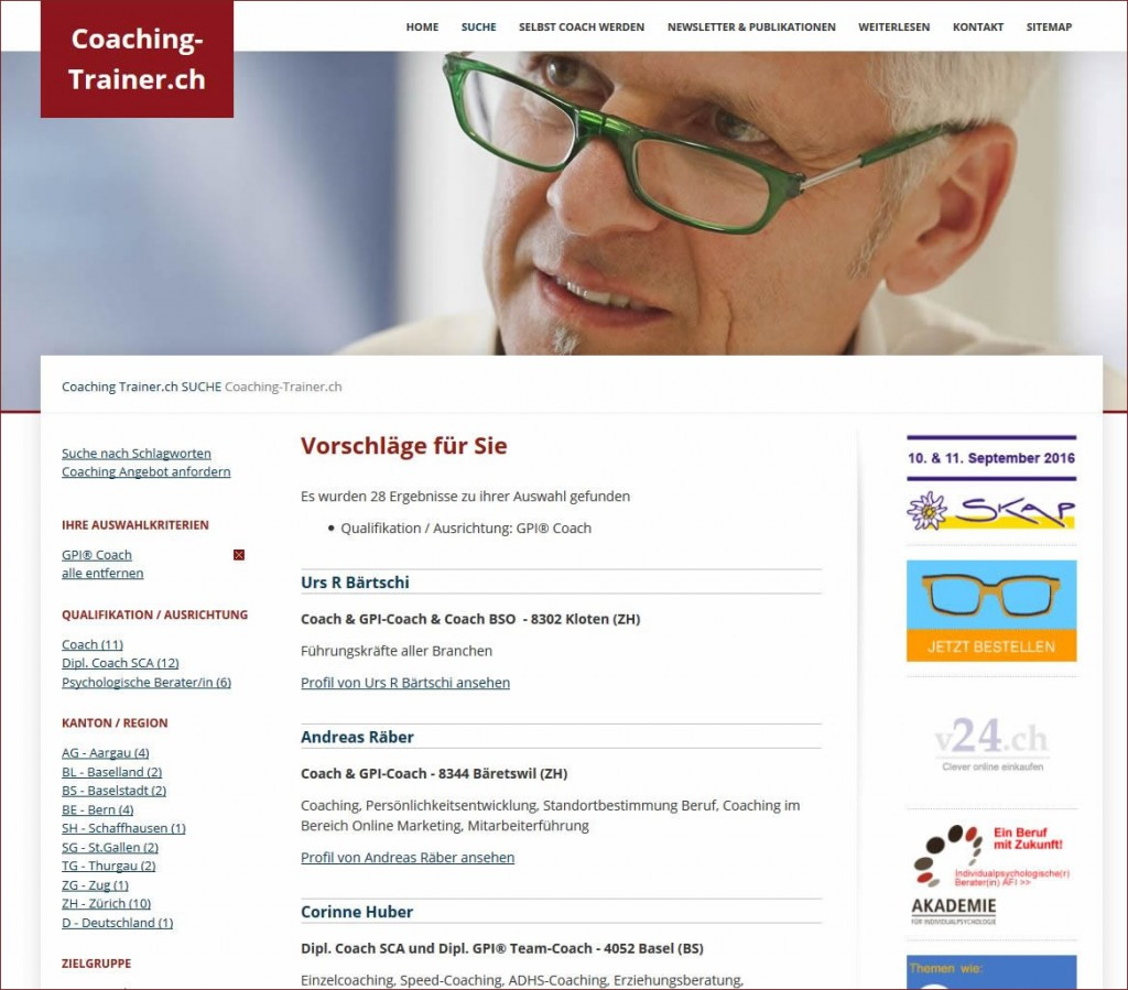 Coaching-Trainer.ch: Coach Verzeichnis