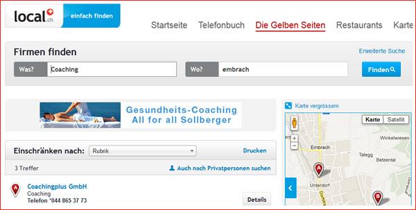 Lokale Suche in Local.ch: Coaching in Embrach